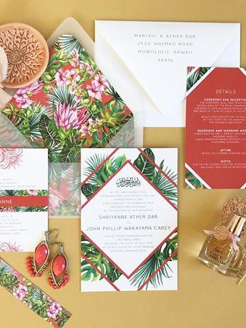 modern Hawaiian wedding invitation set