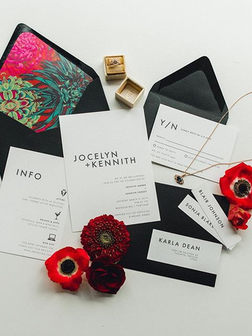 Modern bold red wedding invitation set