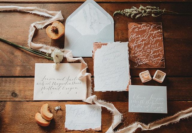 Acrylic Rose gold and Peach Wedding invi