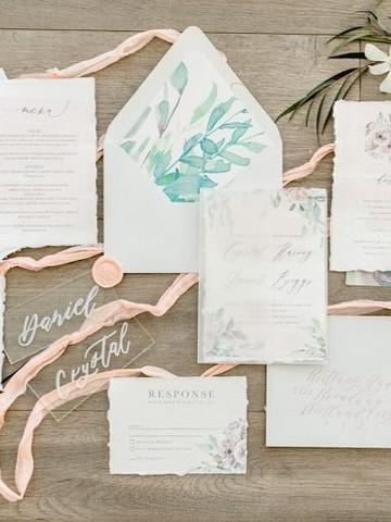 Delicate Floral wedding invitation set
