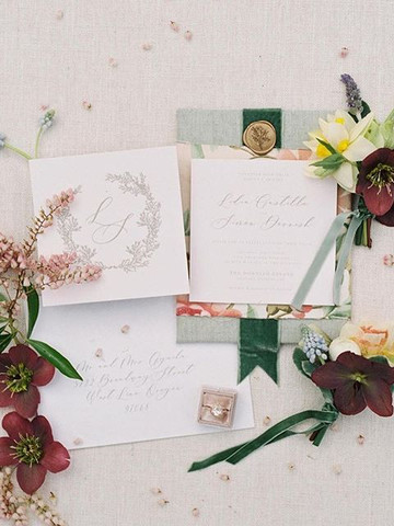 romantic garden wedding invitation set