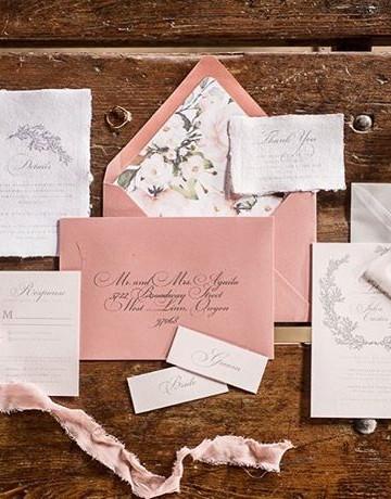 Cherry blossom wedding invitation set  _