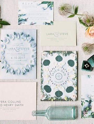 modern floral invitation set  _ Letters