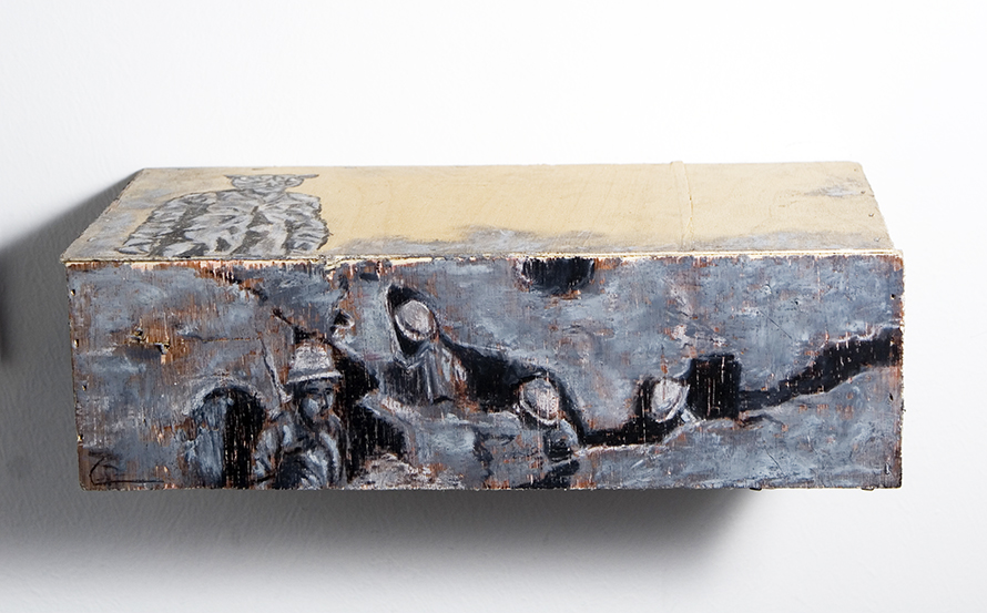 The Street, Back from the Battlefield (detail), 2008, pastels on wood, 29X16X9cm