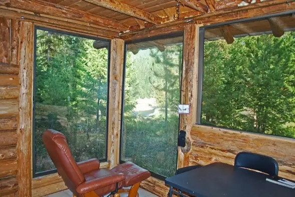 Sit and relax with a great view in the River Cabin.