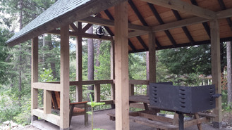 Looking across the shelter at Cedar Grove Camp