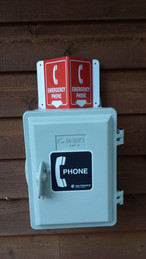 The emergency phone at the host cabin.