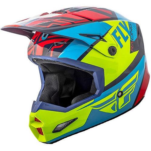 Шлем (кроссовый) FLY RACING ELITE GUILD (сине-красно-желтый)