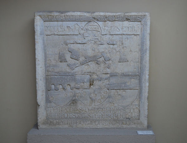 Genoese slab with Papal insignia, Fregos