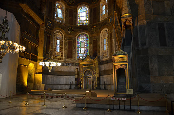 Minbar and Mihrab in the apse of Hagia S