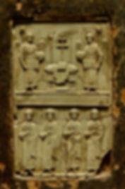 Icon with Hetimasia and Warrior Saints.j