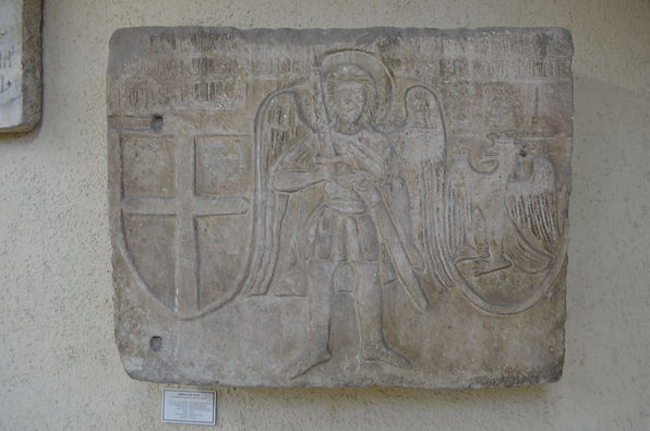 Genoese slab with Saint Michael the Arch