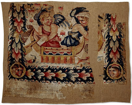 Textile with Erotes figures in a boat.jp