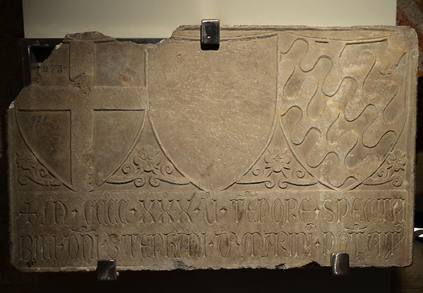 Slab with arms of Genoa, defaced arms, a