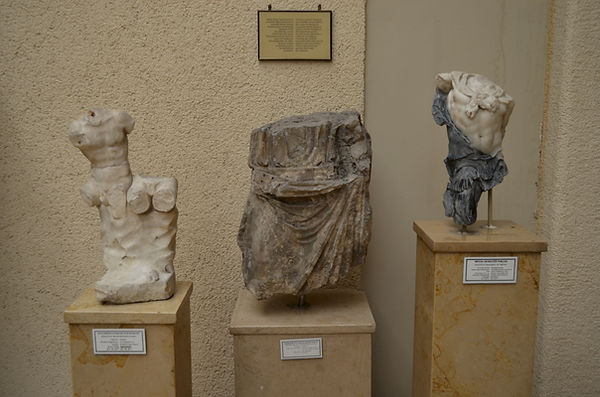 Statues from excavations at the Palace o