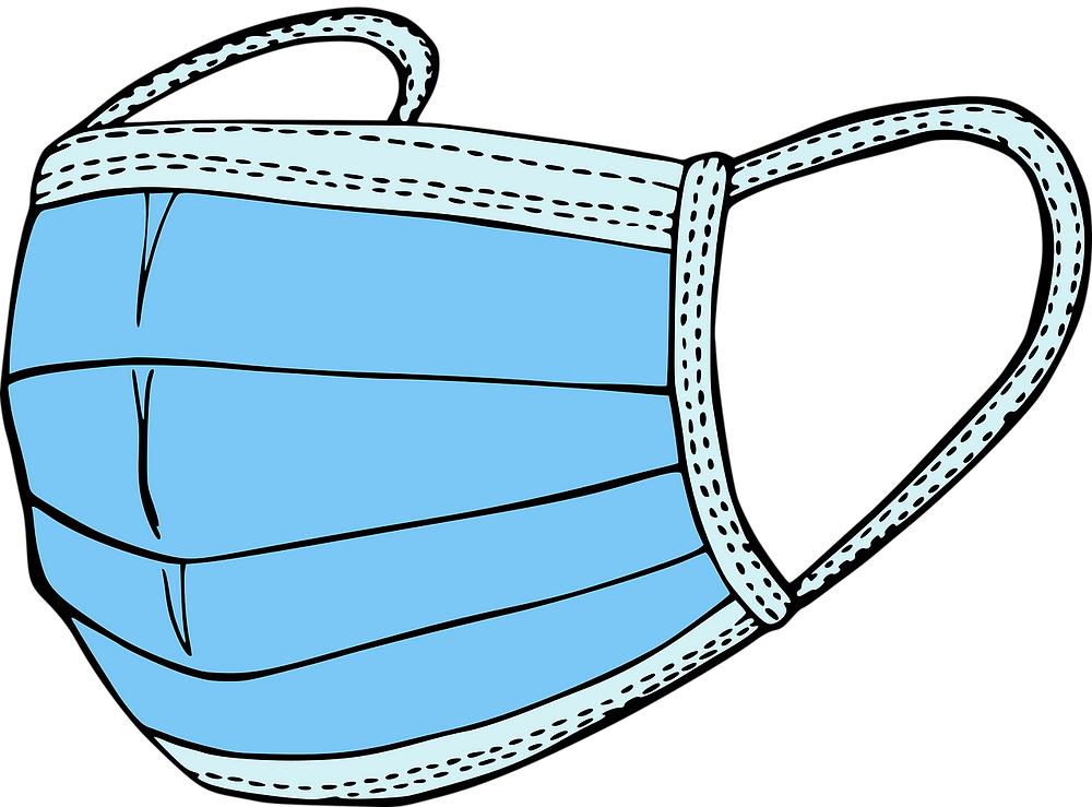 Clip art of a blue surgical mask