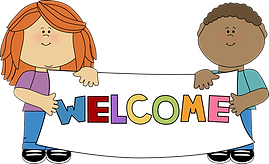 Two children holding a sign that says welcome