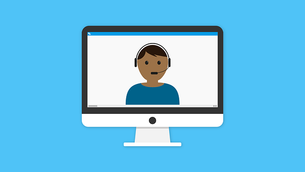 Clip art of a person with headphones looking forward at the viewer
