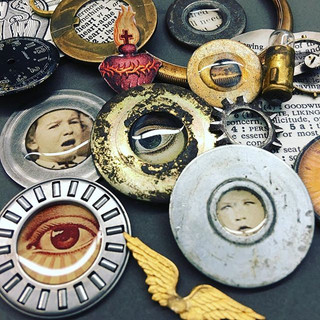 mixed media bezels made from found objec