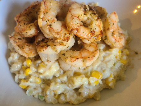 Squeaky Pig Foodie: Shrimp Scampi with Corn and Cauliflower Risotto Style