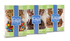 custom window box packaging design for Fretzels chocolate pretzels