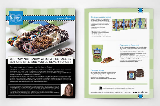 Fretzels marketing sell sheet brochure design