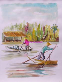 Les pêcheurs du Mékong (aquarelle)