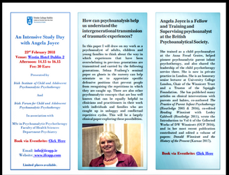 An Intensive Study Day with Angela Joyce: The inter-generational transmission of traumatic experienc