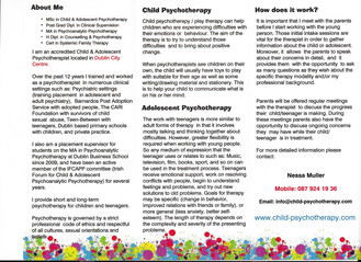 Therapeutic support services for Primary and Secondary Schools based in Dublin