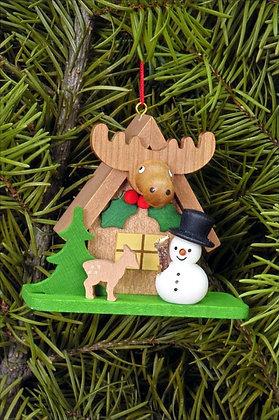 Forest House w/ Snowman & Deer