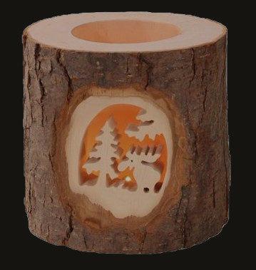 Large Bark Tealight Holder w/ Moose Design