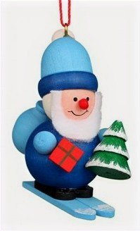 Blue Santa Ornament