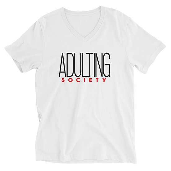 Adulting Society Womens V-Neck T-Shirt