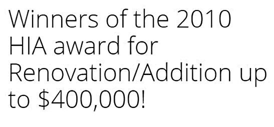 Winner's award - Craig Rynne Construction