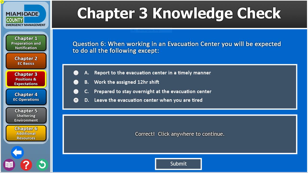 Evacuation Center Quiz