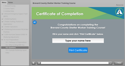 Brevard County Shelter Worker Training Course - Certificate