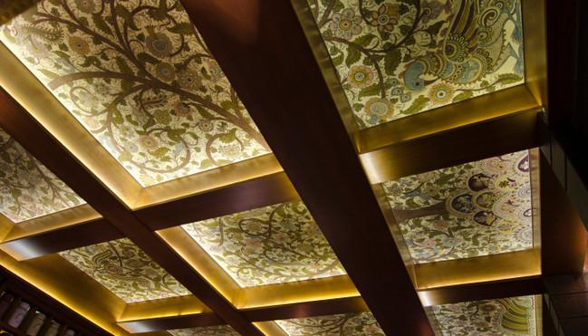 Ceiling patterned with Kalamkari at Sohum Spa