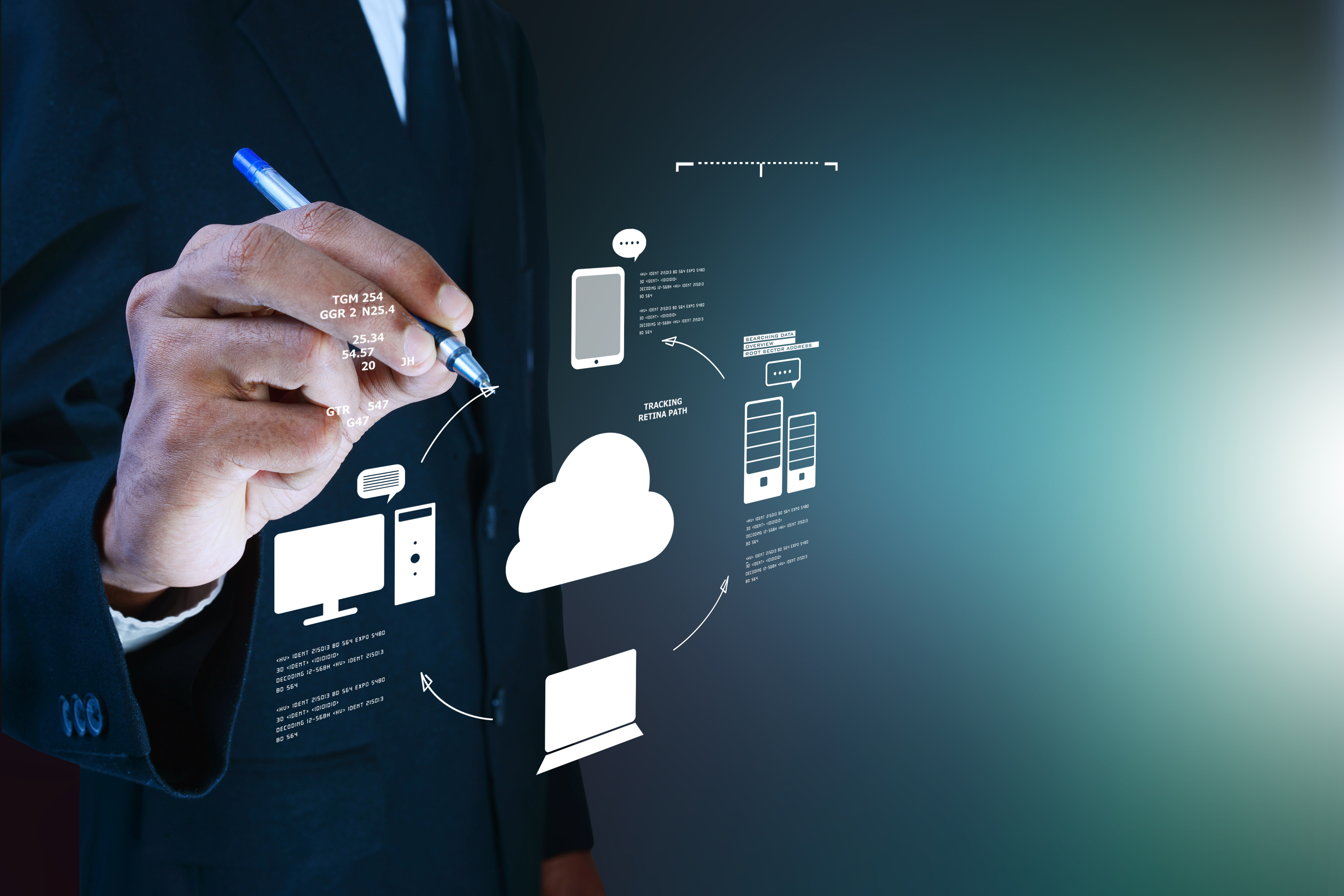Business man showing concept of cloud co