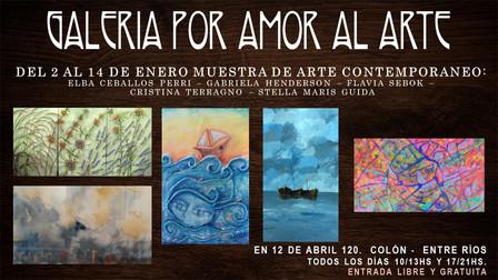 Muestra de arte contemporáneo de Elba Caballos Perri, Gabriela Henderson, Flavia Sebok, Cristina Ter