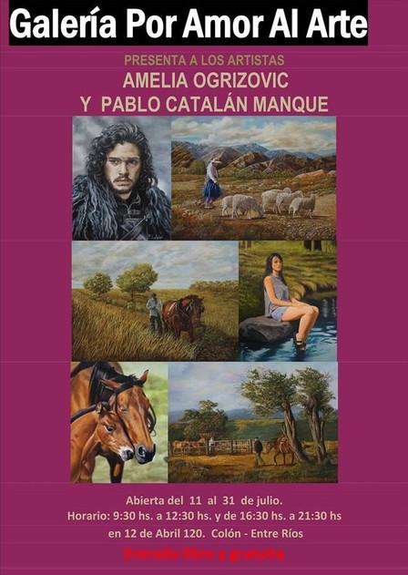 Exposición de arte realista Amelia Ogrisovic y Pablo Catalán Manque julio 2017