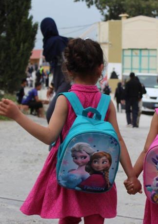 תלמידים בית ספר לפליטים ביוון