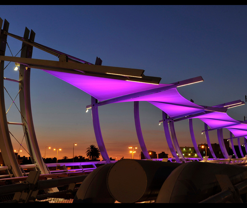 The bridge from the side. Lilac lighting