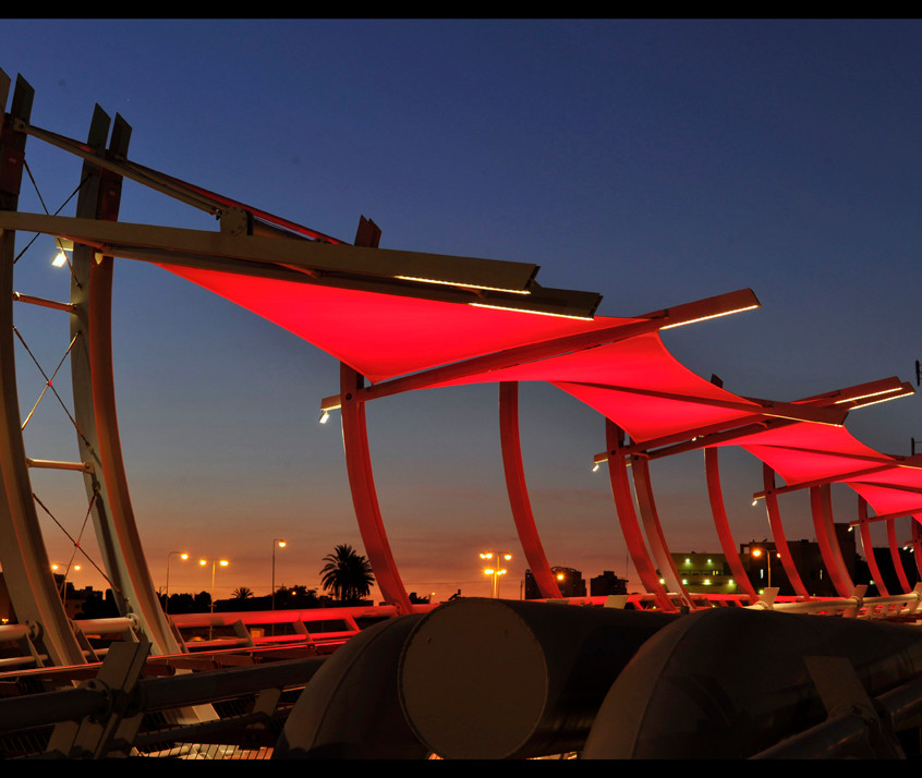 The bridge from the side - red lighting