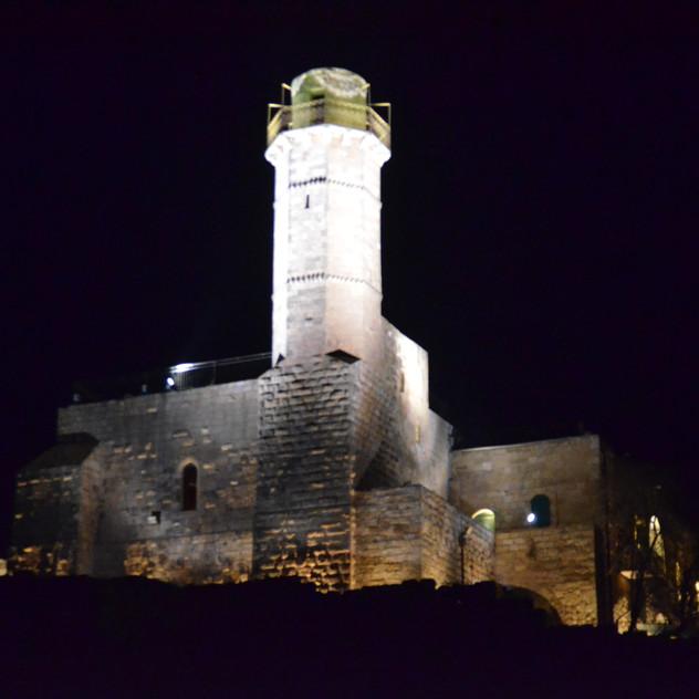 Nabi Samuel Tower is illuminated in white