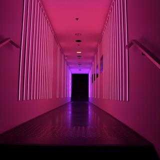 מסדרון של אור - בגוונים של אדום-בורדו וסגול בהיר