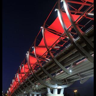 גשר הצינורות. מבט מלמטה. עמודי הבטון מוארים ומדגישים את עוצמת הקונסטרוקציה.