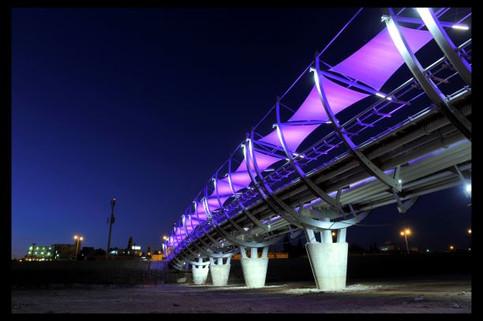 עמודי הבטון של גשר הצינורות מוארים באור לבן. סוככי הצל צבועים בסגול. צילום: יוסי צווקר