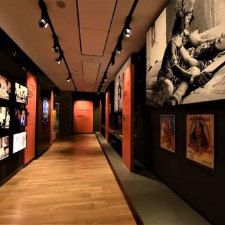 מסדרון יצירות הקולנוע - פסי תאורה על התקרה המכוונים על עמודי המידע