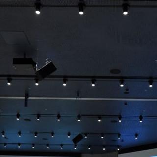 מבט על הצוגים התלויים על התקרה. גופי תאורה קטנים במרווחים שווים