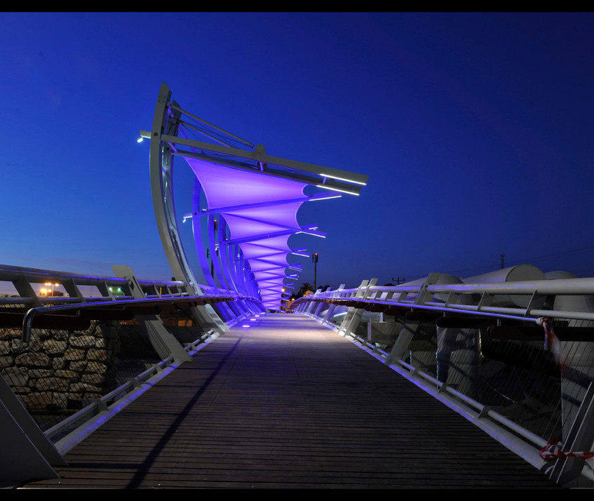 The bridge from the side. Purple lighting